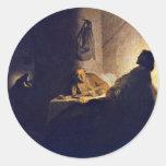 La cena en Emmaus. Por Rembrandt Van Rijn Etiquetas Redondas