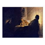 La cena en Emmaus. Por Rembrandt Van Rijn Postal