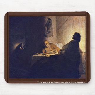 La cena en Emmaus. Por Rembrandt Van Rijn Mouse Pad