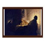 La cena en Emmaus. Por Rembrandt Van Rijn Tarjeta Postal