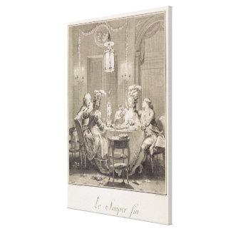 La cena fina, 1781, grabado por I.S. Helman (17 Impresión De Lienzo