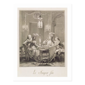 La cena fina, 1781, grabado por I.S. Helman (17 Postal
