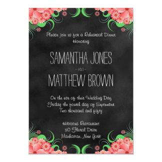 """La cena floral rosada negra del ensayo del boda invitación 5"""" x 7"""""""
