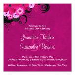 La cena fucsia del ensayo del boda del hibisco invitación 13,3 cm x 13,3cm