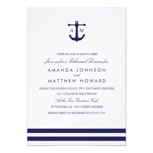"""La cena náutica del ensayo de la marina de guerra invitación 5"""" x 7"""""""