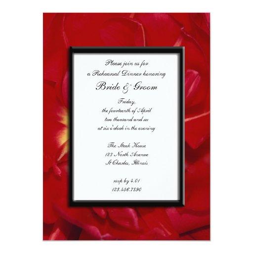 """La cena roja del ensayo del boda del marco del invitación 5.5"""" x 7.5"""""""
