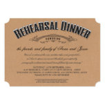 La cena rústica del ensayo del boda de la invitación 12,7 x 17,8 cm