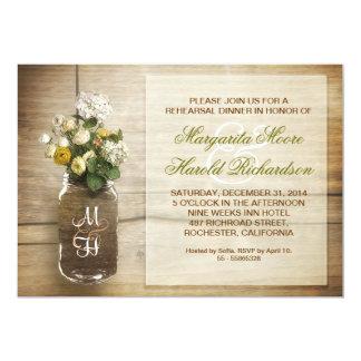 la cena rústica del ensayo del tarro de albañil invitaciones personalizada