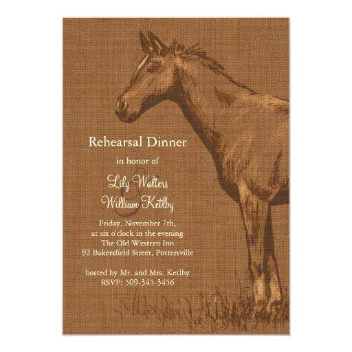 """La cena rústica encantadora del ensayo del caballo invitación 5"""" x 7"""""""