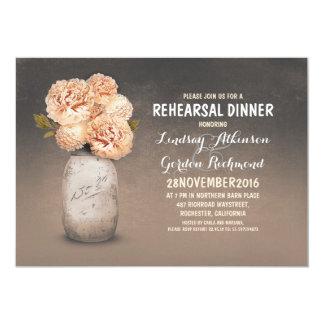 La cena rústica pintada del ensayo del tarro de invitación 12,7 x 17,8 cm