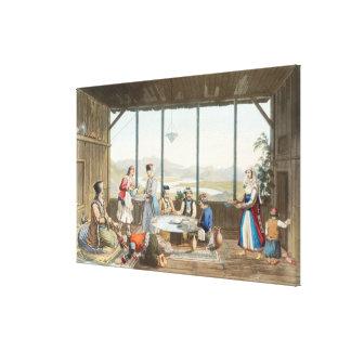 La cena se sostuvo en Delphi en honor del pintor c Impresiones En Lienzo Estiradas