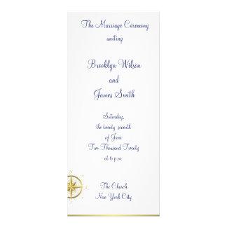 La ceremonia de boda náutica blanca programa la tarjeta publicitaria