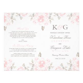 """La ceremonia de boda programa rosas rosados de la folleto 8.5"""" x 11"""""""