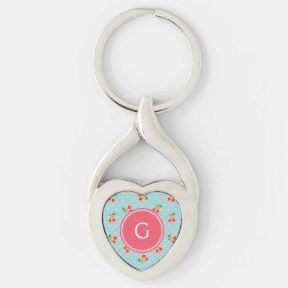 La cereza femenina retra de la turquesa modela el llavero plateado en forma de corazón