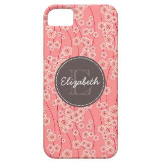 La cereza rosada moderna florece con monograma funda para iPhone SE/5/5s
