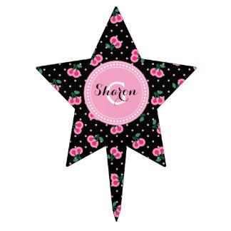 La cereza rosada negra femenina retra modela el decoraciones para tartas