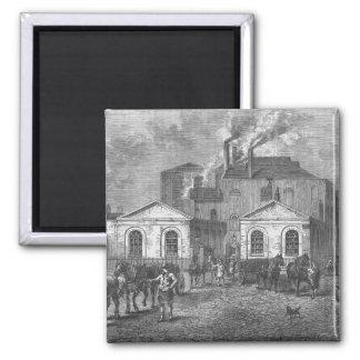 La cervecería de Meux, 1830 Imán Cuadrado