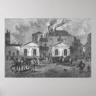 La cervecería de Meux, 1830 Póster