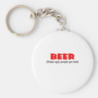 la cerveza ayuda a gente fea llavero redondo tipo pin