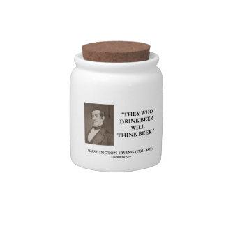 La cerveza de la bebida de Washington Irving Platos Para Caramelos