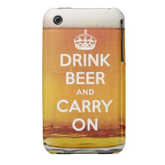 La cerveza divertida de la bebida y continúa iPhone 3 Case-Mate funda