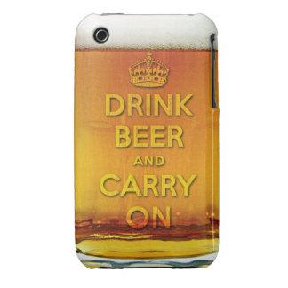 La cerveza divertida de la bebida y continúa iPhone 3 protector