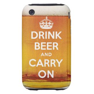 La cerveza divertida de la bebida y continúa tough iPhone 3 cárcasas