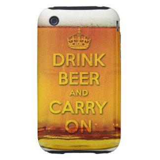La cerveza divertida de la bebida y continúa iPhone 3 tough protectores