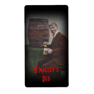 La cerveza dorada roja de O'Malley de la etiqueta  Etiqueta De Envío