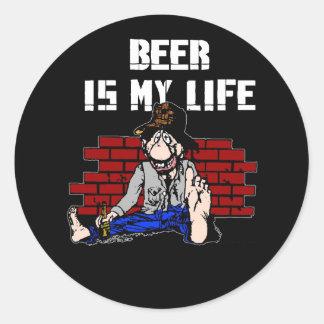 La cerveza es mis pegatinas de la vida pegatinas redondas