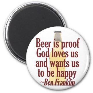 La cerveza es prueba imán redondo 5 cm