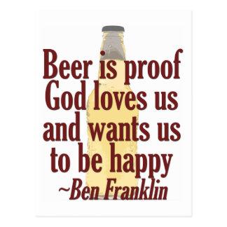 La cerveza es prueba tarjeta postal