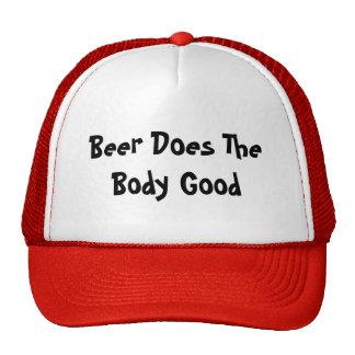 La cerveza hace el buen casquillo del cuerpo gorras