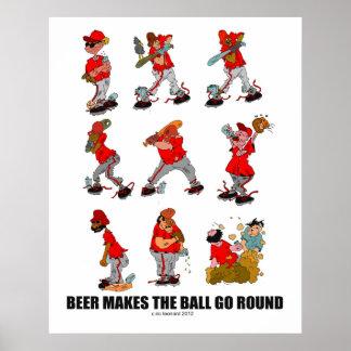 """La """"cerveza hace que la bola va alrededor de """" posters"""