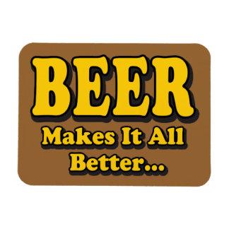 La cerveza lo hace todo mejor imán rectangular