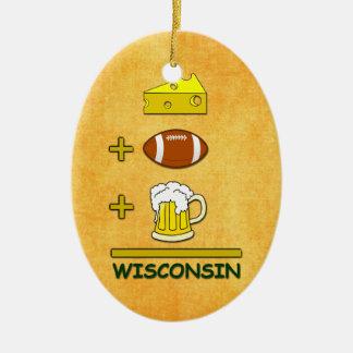 La cerveza más fútbol más el queso iguala adorno navideño ovalado de cerámica