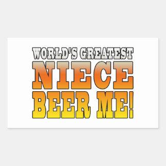 La cerveza más grande de la sobrina de los mundos rectangular pegatina
