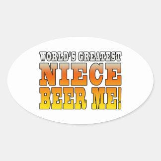 La cerveza más grande de la sobrina de los mundos calcomania de óval