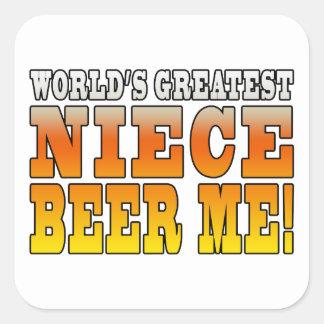 La cerveza más grande de la sobrina de los mundos pegatinas cuadradases