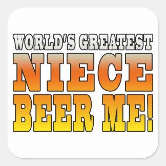 La cerveza más grande de la sobrina de los mundos calcomanías cuadradass