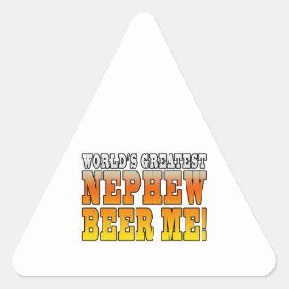 La cerveza más grande del sobrino de los mundos de pegatinas trianguloes
