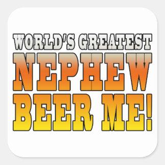 La cerveza más grande del sobrino de los mundos de calcomanías cuadradas personalizadas