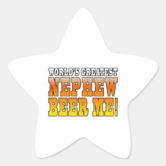 La cerveza más grande del sobrino de los mundos de calcomanía forma de estrella personalizadas