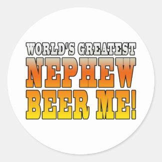 La cerveza más grande del sobrino de los mundos de pegatina redonda