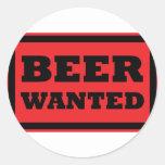 la cerveza quiso el icono rojo pegatina redonda