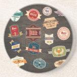 La cerveza retra etiqueta el collage posavasos para bebidas