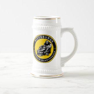La cerveza Stein del fútbol de la butaca QB Pittsb Taza De Café
