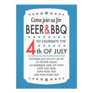 La cerveza y el Bbq 4ta del fiesta de julio invita Comunicado Personalizado
