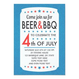 La cerveza y el Bbq 4ta del fiesta de julio Invitación 11,4 X 15,8 Cm