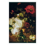 La cesta blanca de flores, enero van Huysum florec Póster